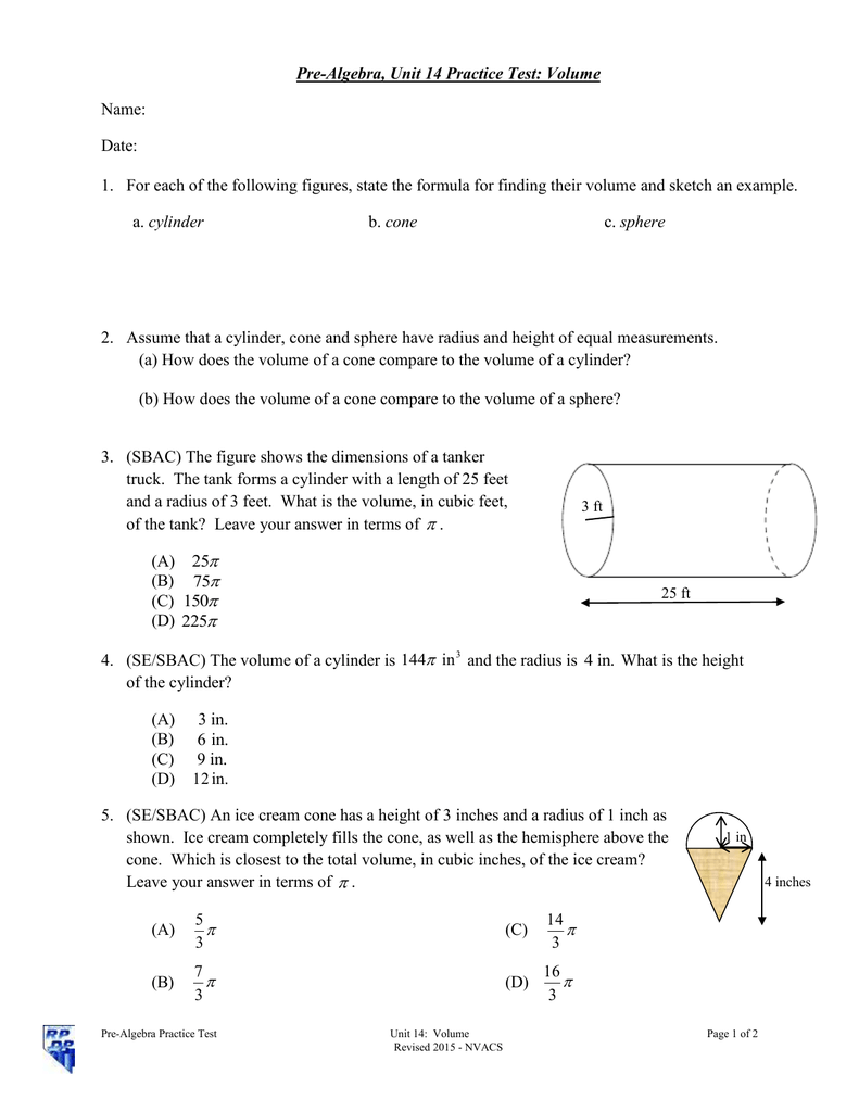Pre-Algebra, Unit 14 Practice Test: Volume Name: Date: