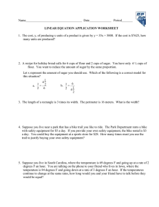 1.  The cost, y, of producing x units of a... LINEAR EQUATION APPLICATION WORKSHEET