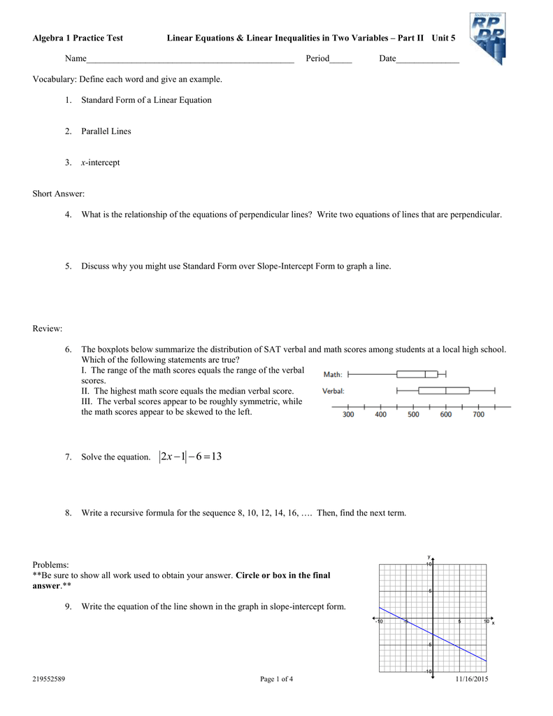 Algebra 1 Practice Test