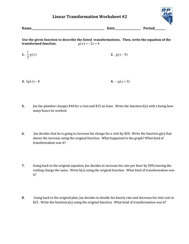 Linear Transformation Worksheet #2 ...