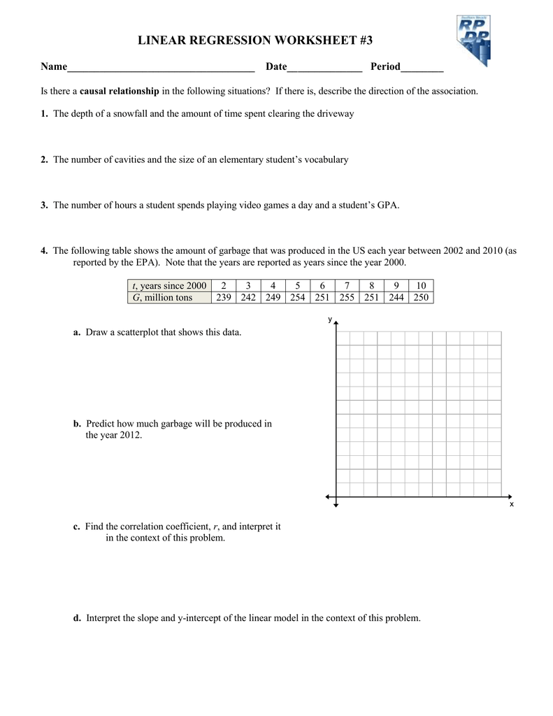 Worksheets Linear Regression Worksheet linear regression worksheet 3