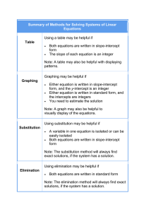 Summary of Methods for Solving Systems of Linear Equations