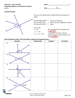 Geometry – Unit 1 Practice  Name: _____________________________! Integrating Algebra into Geometric Concepts