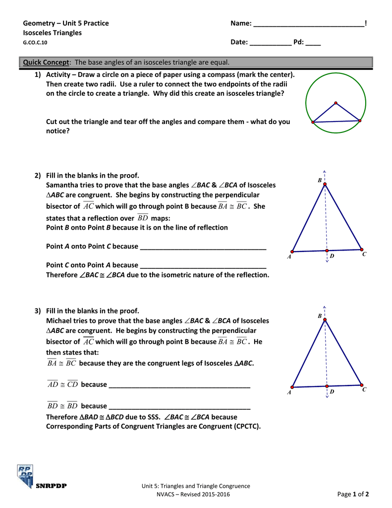 Geometry - Unit 5 Practice Name ...