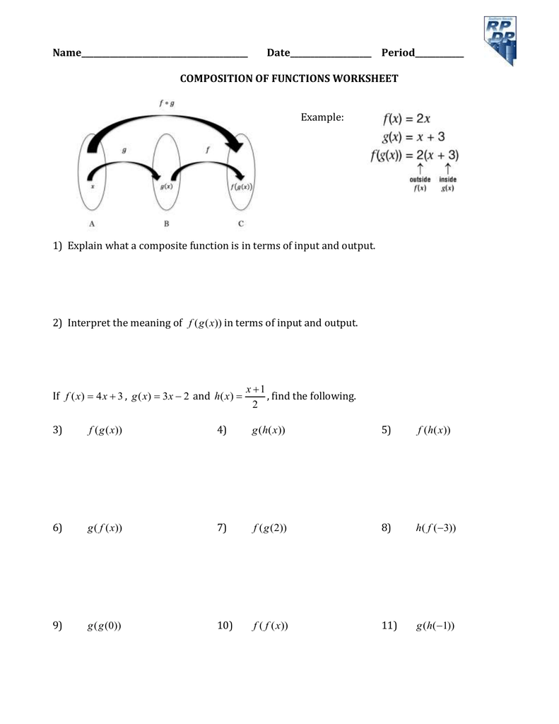 Name_________________________________________ With Regard To Composite Function Worksheet Answers