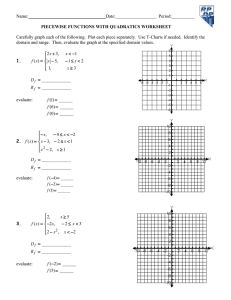 Worksheet Piecewise Functions
