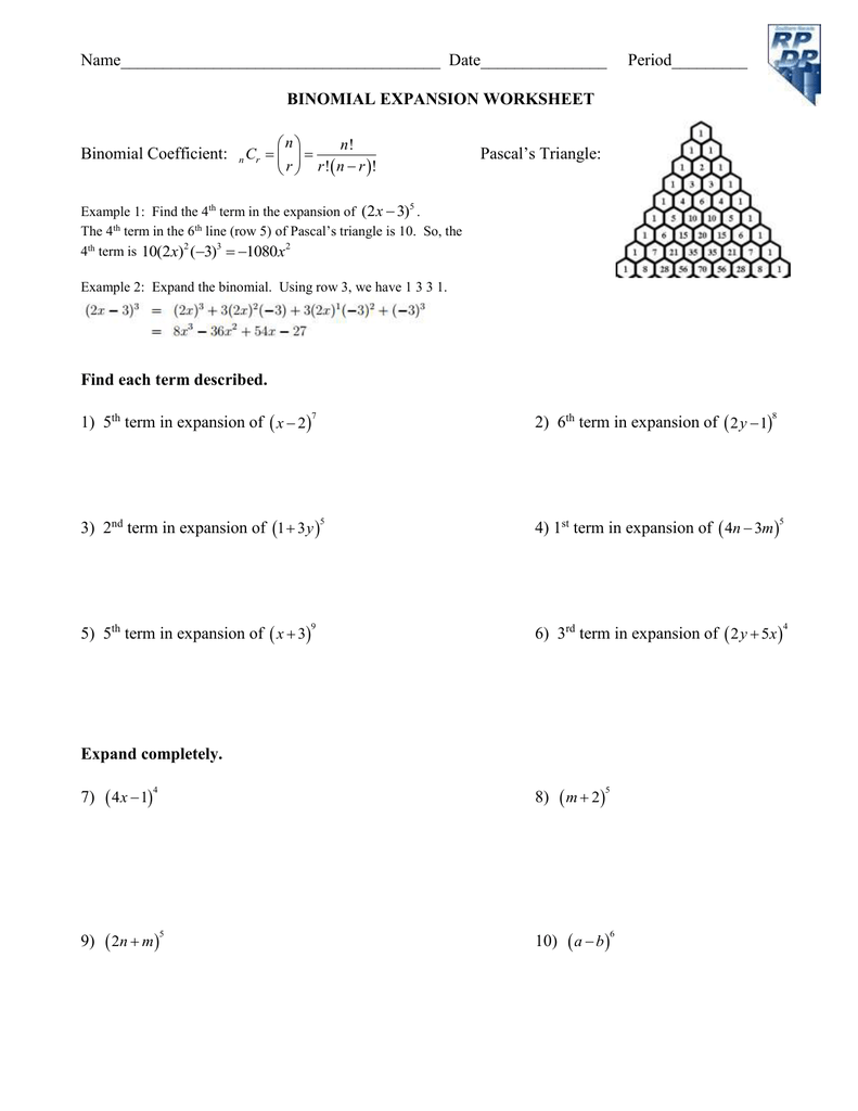Worksheet Binomial Theorem Worksheet name