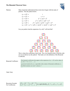 The Binomial Theorem Notes