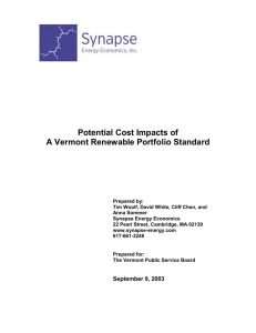 Potential Cost Impacts of A Vermont Renewable Portfolio Standard