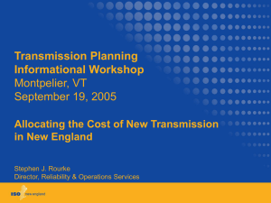 Transmission Planning Informational Workshop Montpelier, VT September 19, 2005