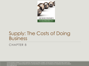 Supply: The Costs of Doing Business CHAPTER 8