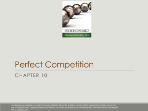 Perfect Competition CHAPTER 10