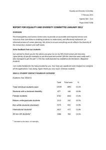 REPORT FOR EQUALITY AND DIVERSITY COMMITTEE JANUARY 2012