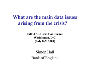 What are the main data issues arising from the crisis? Simon Hall
