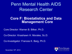 Penn Mental Health AIDS Research Center Core F: Biostatistics and Data Management Core