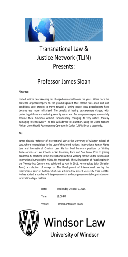 Transnational Law & Justice Network (TLJN) Presents: Professor James Sloan