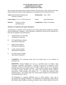 This comment and response form contains comments from the May... Board of Education when the draft regulations were considered at... STATE BOARD OF EDUCATION