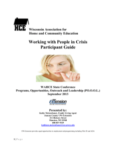 Working with People in Crisis Participant Guide  Wisconsin Association for