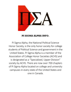 Pi Sigma Alpha, the National Political Science