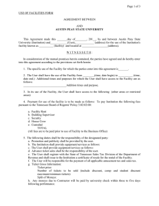 Page 1 of 3  USE OF FACILITIES FORM AGREEMENT BETWEEN