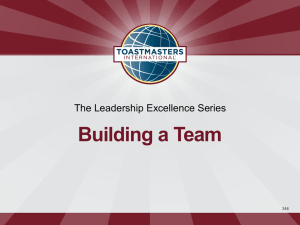 Building a Team The Leadership Excellence Series 316
