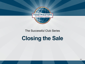 Closing the Sale The Successful Club Series 293