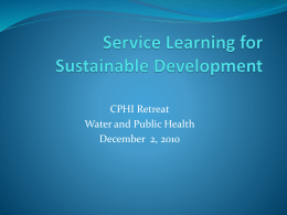 CPHI Retreat Water and Public Health December  2, 2010