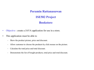 Poramin Rattanasuwan ISE582 Project Bookstore • Objective