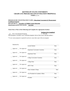 KENNESAW STATE UNIVERSITY GRADUATE PROGRAM/CONCENTRATION PROPOSAL  FORM