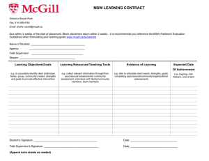 MSW LEARNING CONTRACT
