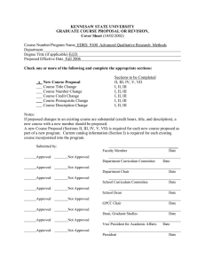 KENNESAW STATE UNIVERSITY GRADUATE COURSE PROPOSAL OR REVISION, Cover Sheet