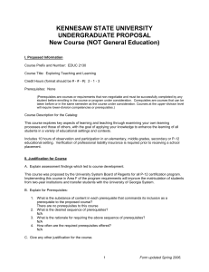 KENNESAW STATE UNIVERSITY UNDERGRADUATE PROPOSAL  New Course (NOT General Education)