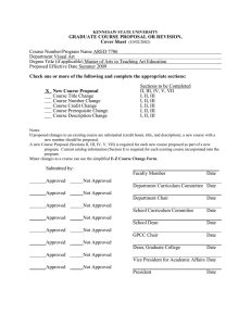GRADUATE COURSE PROPOSAL OR REVISION, Cover Sheet  Course Number/Program Name ARED 7706