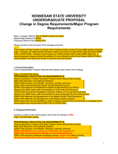 KENNESAW STATE UNIVERSITY UNDERGRADUATE PROPOSAL Change in Degree Requirements/Major Program