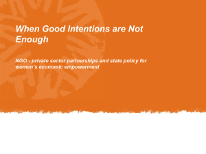 When Good Intentions are Not Enough women's economic empowerment
