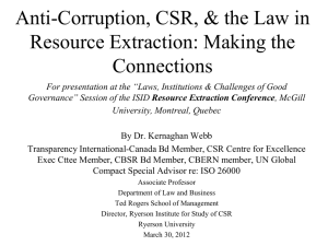 Anti-Corruption, CSR, & the Law in Resource Extraction: Making the Connections