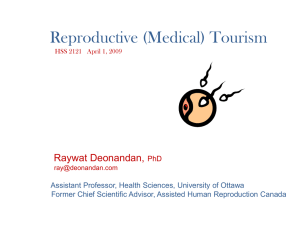 Reproductive (Medical) Tourism Raywat Deonandan,