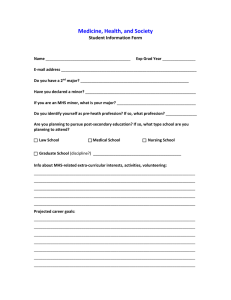 Medicine, Health, and Society Student Information Form