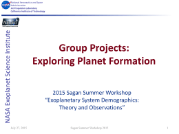 Group Projects: Exploring Planet Formation e ut