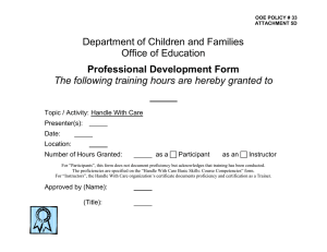 Department of Children and Families Office of Education  Professional Development Form