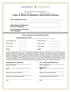 Letter of Intent to Establish a Sub-Award Contract  Sponsored Programs Administration