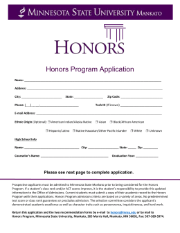 Honors Program Application