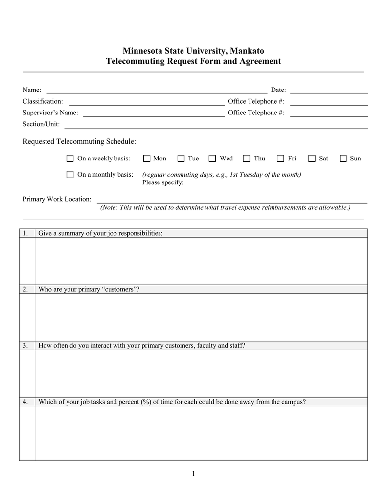 Minnesota State University Mankato Telecommuting Request Form And - Telecommuting agreement template