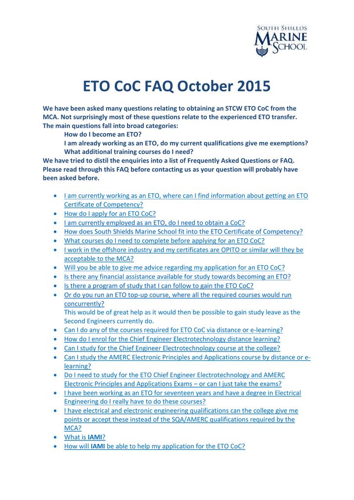 ETO CoC FAQ October 2015