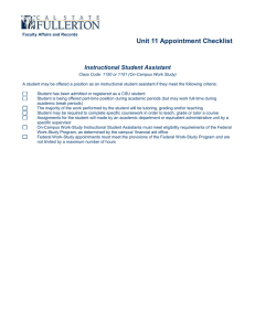 Unit 11 Appointment Checklist Instructional Student Assistant