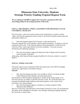 Minnesota State University, Mankato Strategic Priority Funding Proposal Request Form