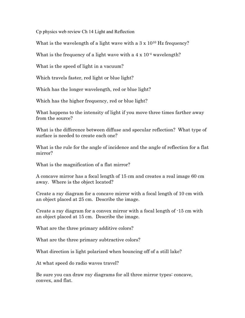 Physics Lab Worksheet Chapter 14 - Breadandhearth