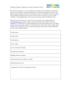 Writing Center Classroom Visit Invitation Form