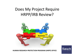 Does My Project Require HRPP/IRB Review? Engagement Research