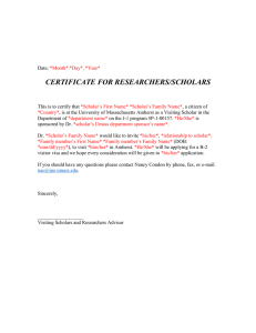 CERTIFICATE FOR RESEARCHERS/SCHOLARS